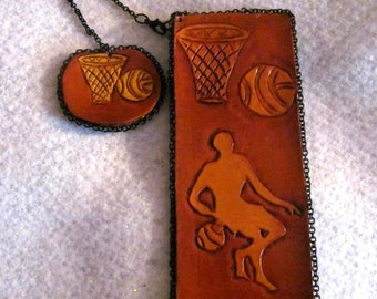 Basketball Leather Personalized Bookmark