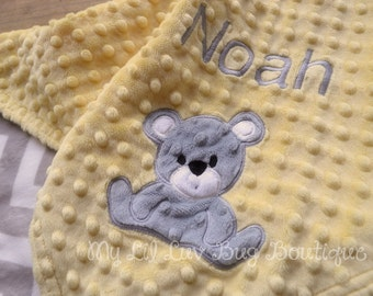 Personalized baby blanket- yellow and silver grey chevron print with teddy bear- stroller blanket