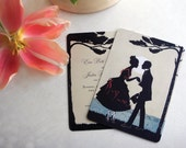 Save the Dates - Vintage Save the Date Postcard - Seaside Silhouette - Tree, Lake, Ocean Silhouette Theme