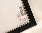 Magnetic Memo Board - Dry Erase Board - Magnet Board - Framed Bulletin Board - Wall Decor - Owl Design - includes magnets