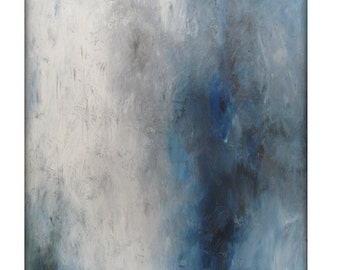 Abstract Seascape Original Painting on Canvas Contemporary/Modern Painting  - 36x48 - Blue-Gray, White, and more