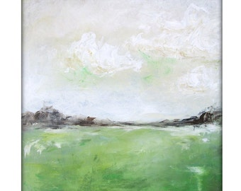 Abstract Landscape  Modern Minimalist Acrylic Painting on Canvas - 24x24 Green,Cream.Browns