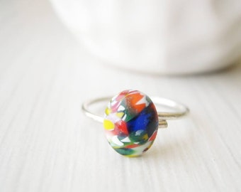 Adjustable Sterling Silver Stacking Ring - Nickel Free Jewelry, Multicolor, Vintage Millefiori Glass, White, Blue, Orange, Yellow, Green