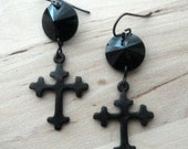 Gothic Cross Earrings Black Crystal Dangle Drop