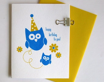 birthday owls - screen printed blank card