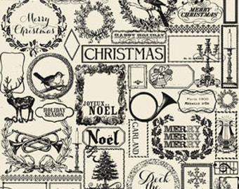 Lost & Found Christmas from Riley Blake Designs - Christmas Main Black Nostalgic Quilt Fabric