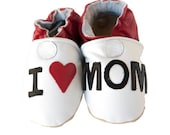 I Heart Mom (baby shoes in all-natural leather)