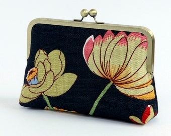 Floral clutch black, silk lined, Bag Noir, Bridesmaid clutch, Weddings bride formal clutch purse