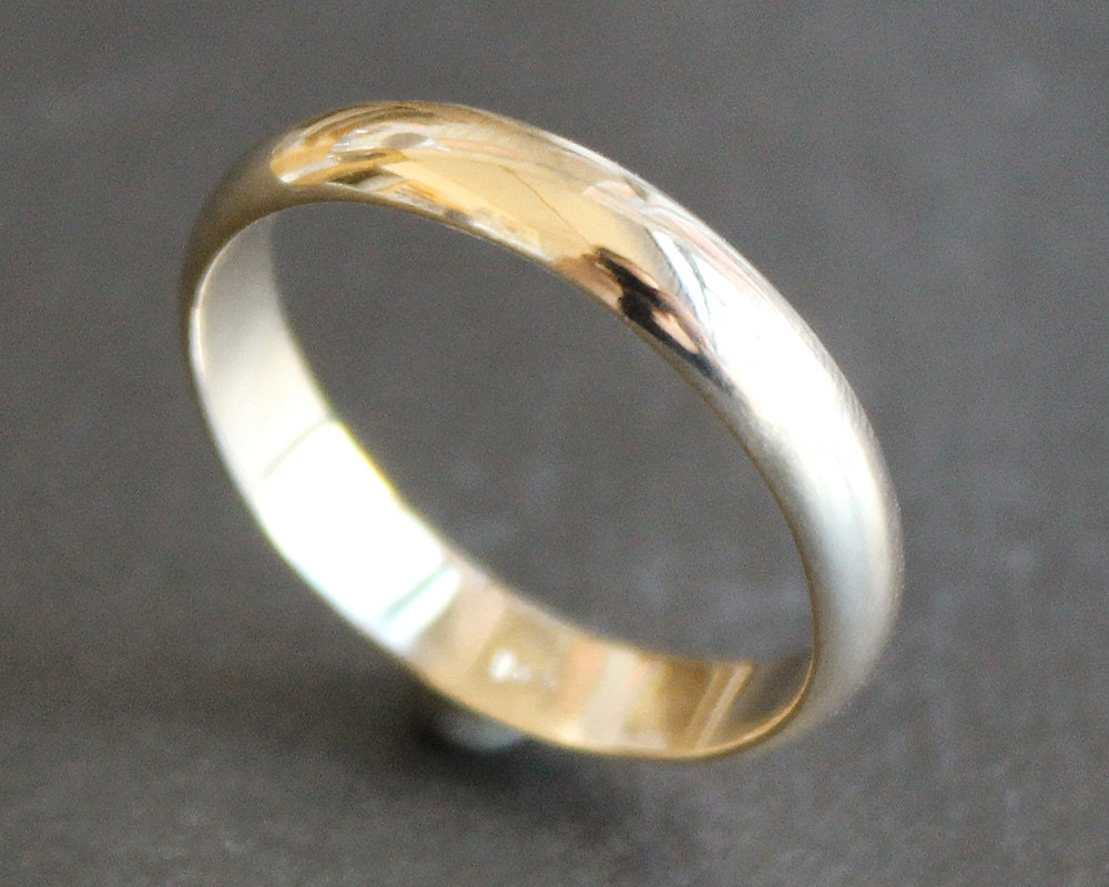 14k solid gold ring 4mm simple band classic unisex wedding