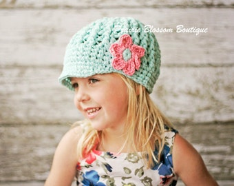 Cotton Crochet Toddler Newsboy Hat in Robin's Egg Blue with a Pink Flower, Hats for Girls, 12 Months to 4T