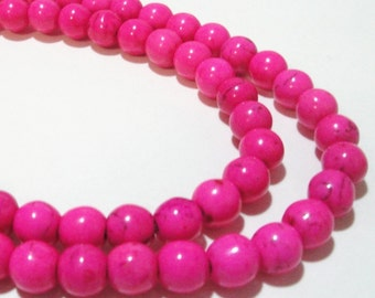 "Hot Pink Round Beads - Smooth Howlite Gemstone - Round Ball Beads - Necklace Beads - 8mm - 16"" Strand - Center Drilled - Diy Jewelry in Bulk"