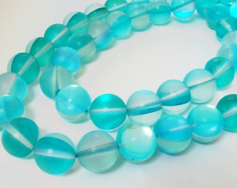 "Moonstone Round Beads - Clear Blue Cyan Turquoise - Glass Beads - Smooth Sparkly Necklace Beads - 16"" Strand - 12mm - DIY Jewelry Making"