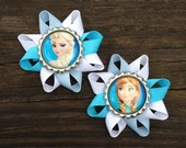 Frozen Hair Bows, Frozen Hair Bow Set, Elsa and Anna Hair Bow Set, Blue and White Frozen Hair Clip Set, Toddler Hair Clips, Bows for Girls