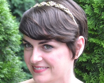 Bridal Headband, Vintage Headband, Wedding Headband, Bridal Hairband, Downton Abbey, Bridal Headpiece,Gold and Purple Headband