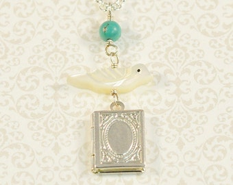 Silver Book Locket, Mother Of Pearl Bird, Turquoise, Silver Chain Necklace, Silver Locket, Small Locket Necklace, Keepsake Jewelry, Trendy