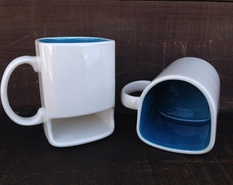 White with Dark Teal - Ceramic Cookies and Milk Dunk Mug with Cookie Shelf