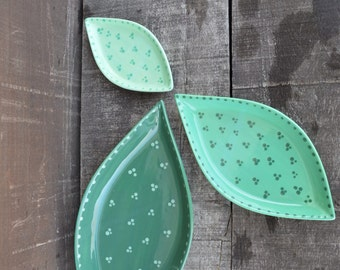 Set of 3 Ceramic Leaf Dishes - Hand Painted in Shades of Green with Polka Dots