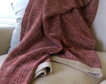 Hand Woven Sofa Throw Blanket, Chenille Bed Throw in Red & Neutrals