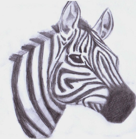 Items similar to Retro vintage cartoon zebra animal face ...