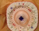 Vintage Wall Hanging or Display Johnson Brothers Square Plate, Pink Depression, Brandy Sniffer