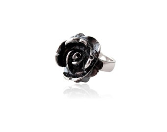 Oxidized Sterling Silver Rose Ring