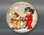 vintage christmas fridge magnet, vintage reindeer magnet, little girl magnet christmas decoration, kitchen decor, large magnet MA-1344