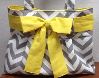 Grey Chevron / Grey and white Chevron ZIGZAG / Diaper Bag / Tote Bag / Yellow / Bow
