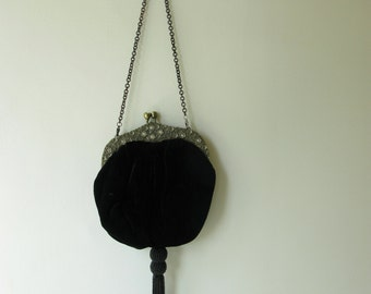 Vintage Velvet Evening Bag, Black, tassel, ornate, pouch  style