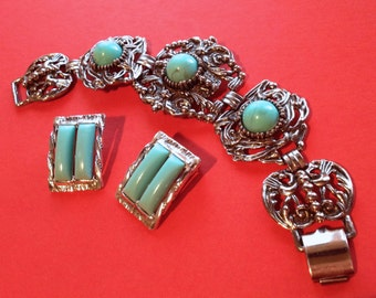 Signed Selini Clip Earrings and Chunky Bracelet