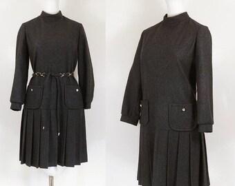 60s mod dress / 60s gray wool flannel dress / 60s drop waist dress / grey 60s dress / preppy 1960s vintage schoolgirl dress / Mayfair dress