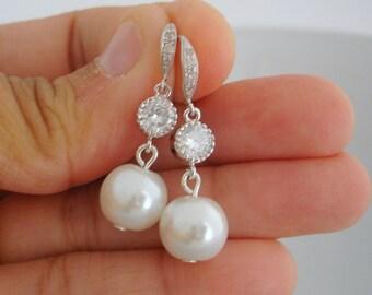 Silver Wedding Bridal Earrings Dangling Silver Cubic Zirconia Posts with a Pearl Drop Wedding Earring Earrings