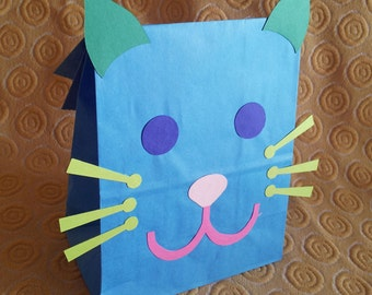 Colorful Cat Treat Sacks - Kitten Kitty Pet Toy Theme Birthday Party Favor Bags by jettabees on Etsy