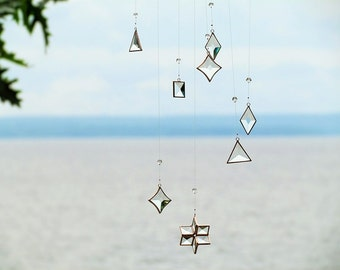 Hanging Geometric Mobile Glass Crystal Copper Handmade Stained Glass Art Mobile