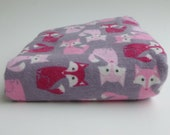 Flannel Fitted Crib Sheet - Grey and Pink Fox