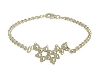Serotonin 3D Molecule Charm Bracelet - Sterling Silver