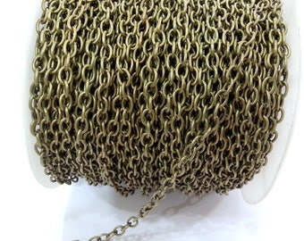 5mt Antique brass plated round cable chain 4x6 mm - unsoldered ,16.5 feet - 5 meters   G2485