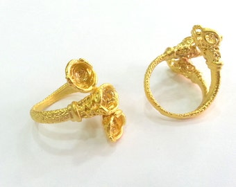 Ring Base Blank (6mm Blank) , Gold  Plated Brass G2578