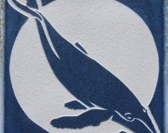 4x4 Humpback Whale - Etched Tile - SRA
