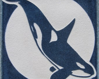 4x4 Killer Whale-Orca - Etched Decorative Tile - SRA