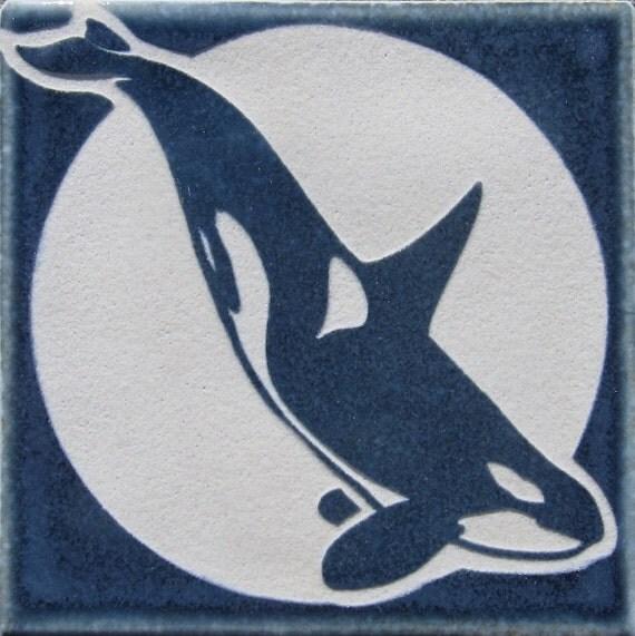 4x4 Killer Whale-Orca - Etched Decorative Tile - SRA