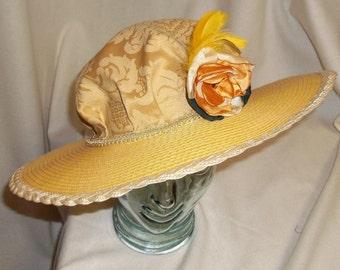 Yellow Edwardian Picture Hat- Downton Abbey, Titanic, Ascot, Kentucky Derby Style