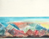 watercolor painting mountains, geometric triangles landscape painting original watercolor Colorado, rocky mountains, long, blue red