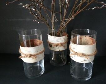 birch bark vases (3)
