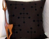 Eames Mid Century Modern Throw Pillow Cover - Brown and Black Large Dot Pattern - shown for 18 inch (46 cm) square insert