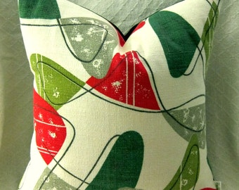 Mid Century Modern Pillow Cover - Atomic Jetsons Vintage Barkcloth Cushion Cover  -  Many sizes Available