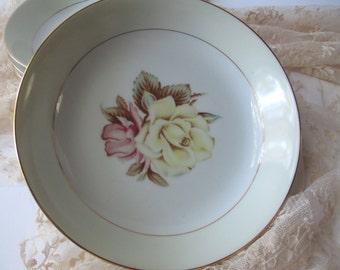 Vintage Narumi Yellow Rose Occupied Japan Soup Bowls Set of Four