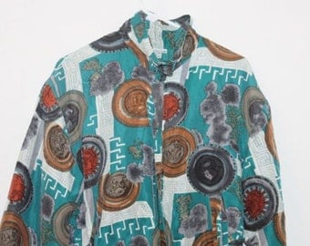 Vintage 90s Blue Green Fashion Print Jacket
