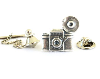 Steampunk Camera Tie Tack- Camera Pin- Sterling Silver Ox Finish