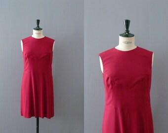 Vintage 1960s dress. Ruby red shift dress