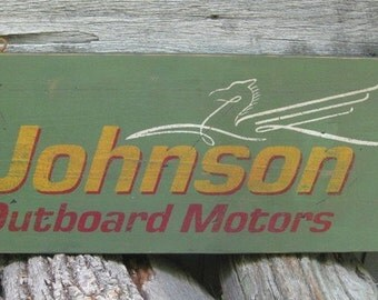 Vintage Johnson Outboard Motors Trade Sign With Sea Horse Logo